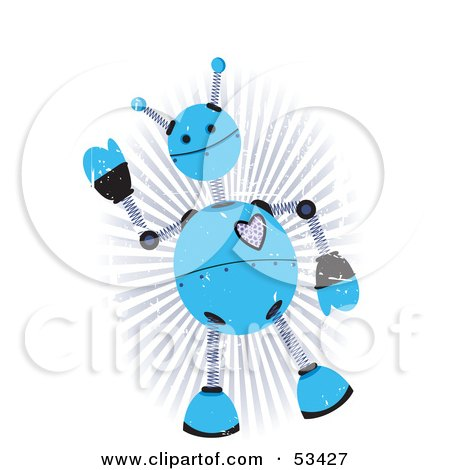 Royalty-Free (RF) Clipart Illustration of a Friendly Blue Springy Robot With Grunge Marks by mheld