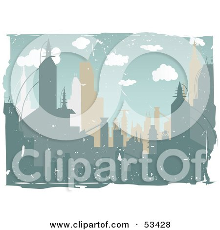 Royalty-Free (RF) Clipart Illustration of a White Grunge Border Around An Urban City Skyline by mheld