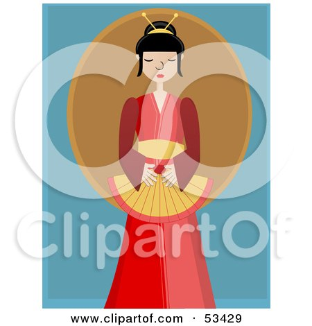 Royalty-Free (RF) Clipart Illustration of a Peaceful Geisha Woman In A Red Kimono by mheld
