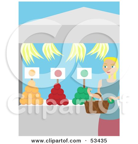 Royalty-Free (RF) Clipart Illustration of a Blond Lady Shopping At A Fresh Fruit Market by mheld