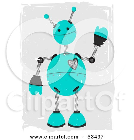 Royalty-Free (RF) Clipart Illustration of a Friendly Teal Springy Robot With Grunge Marks by mheld