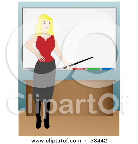 Royalty-Free (RF) Clipart Illustration of a Pretty Blond Businesswoman Or Teacher Instructing In Front Of A White Board by mheld
