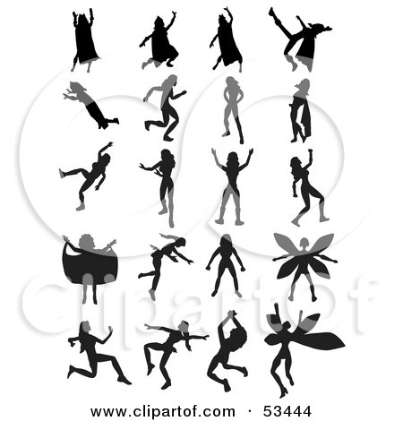 Royalty-Free (RF) Clipart Illustration of a Digital Collage Of Silhouetted Female Superheroes by mheld