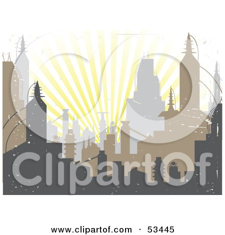 Royalty-Free (RF) Clipart Illustration of Bursting Sun Rays Behind Urban Skyscrapers, With Grunge by mheld