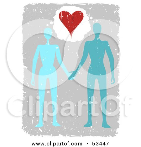 Royalty-Free (RF) Clipart Illustration of a Blue And Teal Couple Holding Hands Under A Heart, With Grunge by mheld