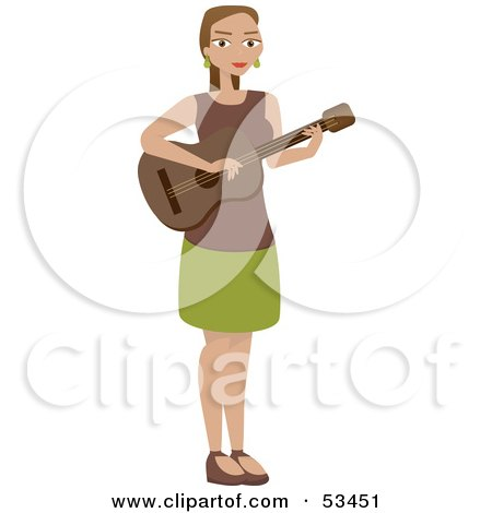 Royalty-Free (RF) Clipart Illustration of a Woman Standing And Playing A Guitar by mheld