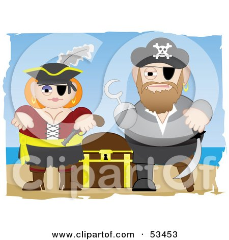Royalty-Free (RF) Clipart Illustration of a Tough Pirate Couple Guarding Their Treasure Chest by mheld