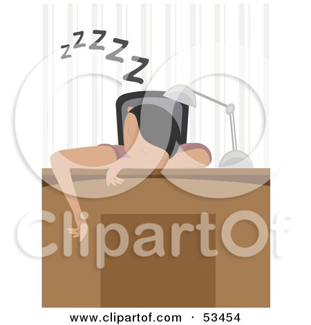 Royalty-Free (RF) Clipart Illustration of a Man or Woman Sleeping Over Their Desk by mheld