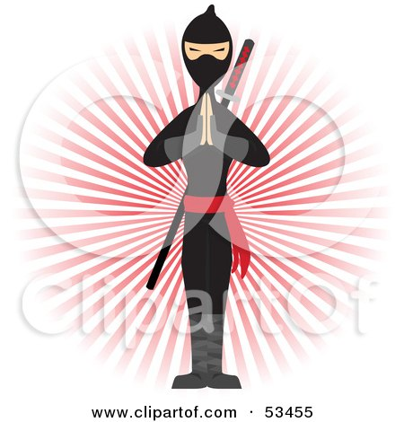 Royalty-Free (RF) Clipart Illustration of a Ninja Standing With His Hands Pressed Together In Front Of A Red Burst by mheld
