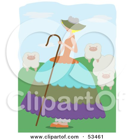 Royalty-Free (RF) Clipart Illustration of Little Bo Peep Watching Over Her Sheep In The Hills by mheld