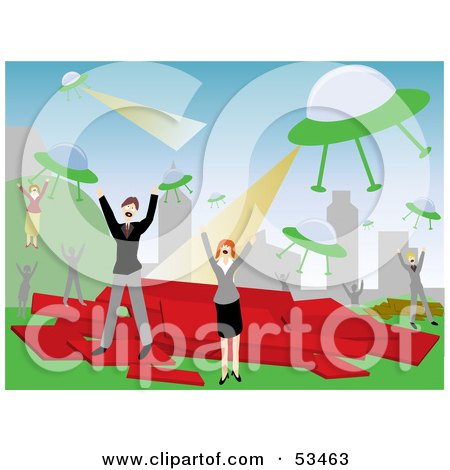 Royalty-Free (RF) Clipart Illustration of Men And Women Screaming And Fleeing From An Alien Attack by mheld