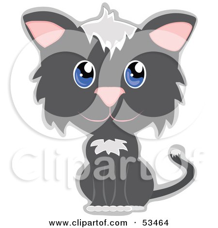Royalty-Free (RF) Clipart Illustration of an Innocent Gray And White Kitty Cat With Big Blue Eyes by mheld
