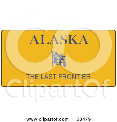 of an Alaska, The Last Frontier Yellow License Plate by David Barnard