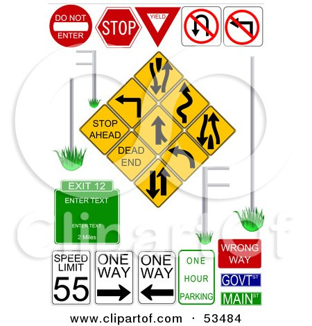 Royalty-Free (RF) Clipart Illustration of a Digital Collage Of Multiple Street Signs On White by David Barnard
