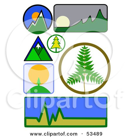 ... Shiny And Colorful Icons; Water Drop, Mountains, Sun, Fire, Cloud