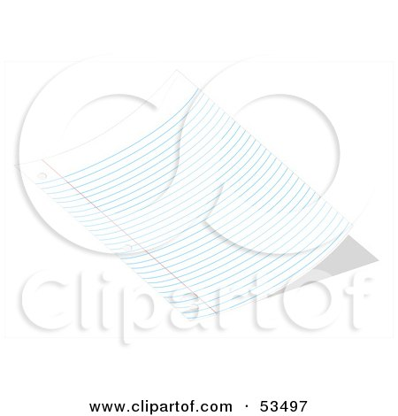Royalty-Free (RF) Clipart Illustration of a Sheet Of Curved Ruled School Paper by David Barnard