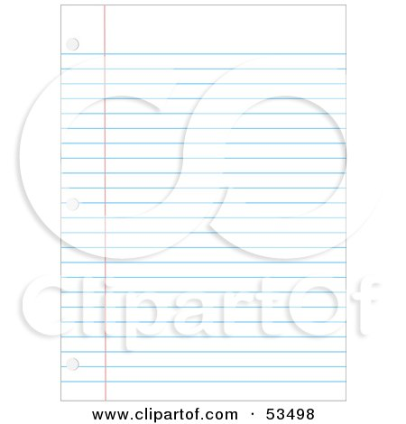 Royalty-Free (RF) Clipart Illustration of a Ruled Binder Paper Background With Hole Punches by David Barnard