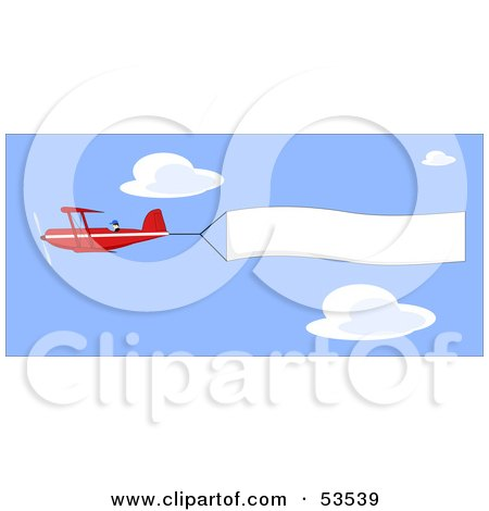 Royalty-Free (RF) Clipart Illustration of a Red Biplane Flying High In A Blue Sky, A Banner Flapping Behind by David Barnard