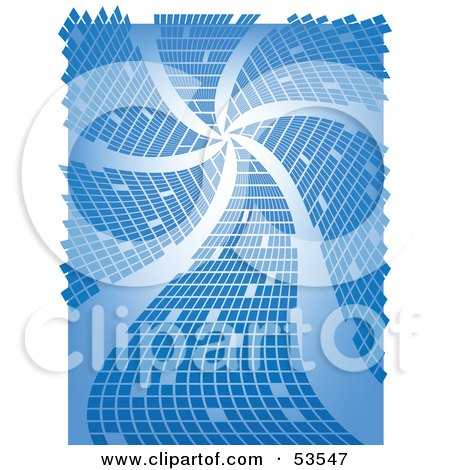 Royalty-Free (RF) Clipart Illustration of a Blue Background With Spiral Waves And Squares by David Barnard