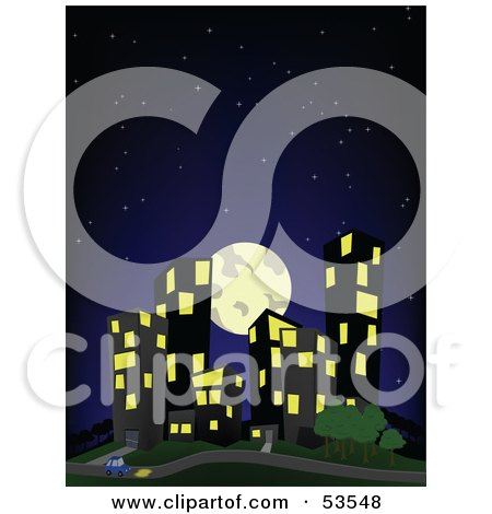 Full Moon And Dark Starry Sky Over City Buildings Posters, Art Prints