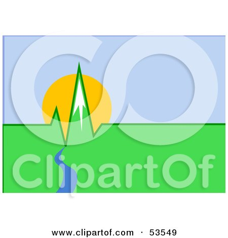 Royalty-Free (RF) Clipart Illustration of a Blue River Flowing To Green Mountain Peaks Resembling An EKG by David Barnard