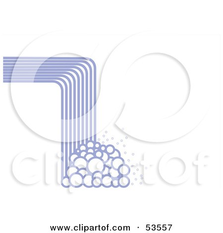 Royalty-Free (RF) Clipart Illustration of an Abstract Lined Waterfall Crashing Downwards Into Bubbles On White by David Barnard
