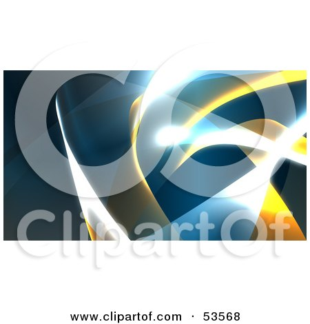 Royalty-Free (RF) Clipart Illustration of a Background Of Blue And Yellow Swooshes And Bright Lights - Version 1 by Julos