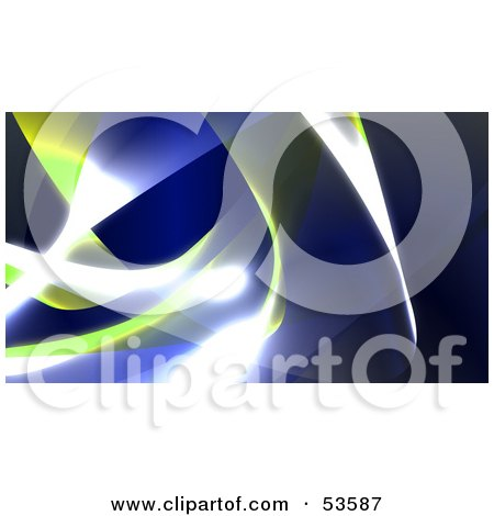 Royalty-Free (RF) Clipart Illustration of a Background Of Blue And Yellow Swooshes And Bright Lights - Version 3 by Julos