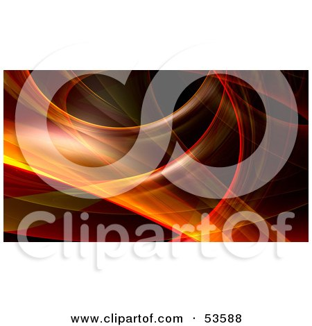Royalty-Free (RF) Clipart Illustration of a Red And Orange Fractal Swoosh Background - Version 4 by Julos