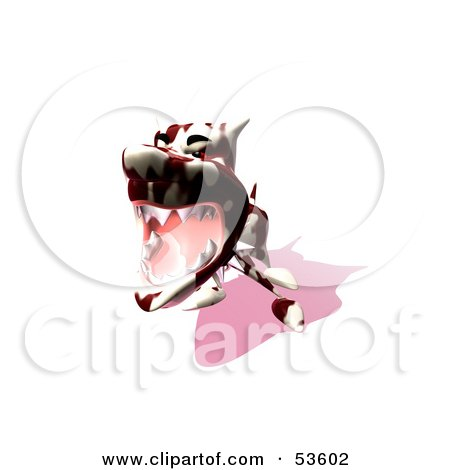 Royalty-Free (RF) Clipart Illustration of a Mean 3d Dog Wearing A Spiked Collar - Version 14 by Julos