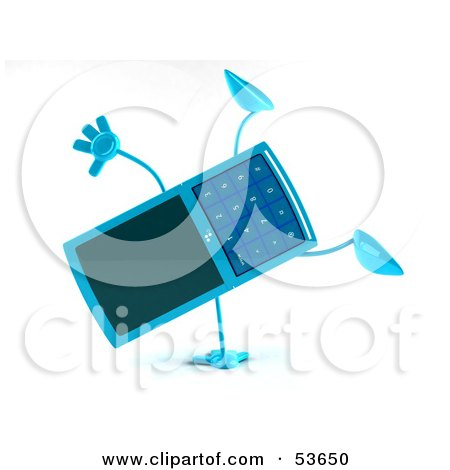Royalty-Free (RF) Clipart Illustration of a 3d Slim Blue Cell Phone Character Doing a Cartwheel - Version 1 by Julos