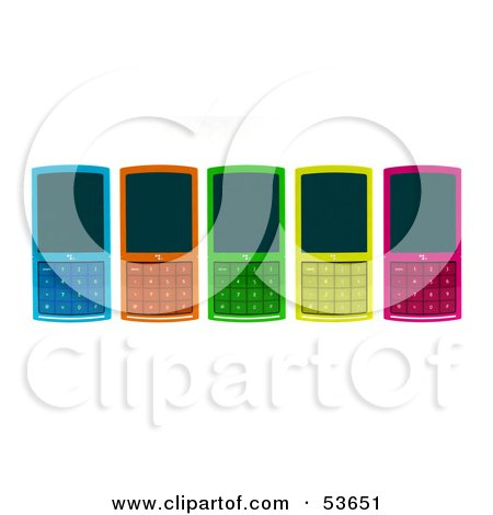 Royalty-Free (RF) Clipart Illustration of Five Colorful 3d Cell Phones Laying Flat On A Surface by Julos