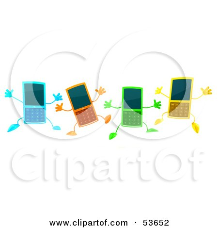 Royalty-Free (RF) Clipart Illustration of Four 3d Slim Blue, Orange, Green And Yellow Cell Phone Characters Jumping by Julos