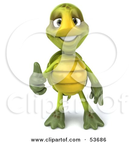 Royalty-Free (RF) Clipart Illustration of a 3d Green Tortoise Facing Front And Giving The Thumbs Up by Julos