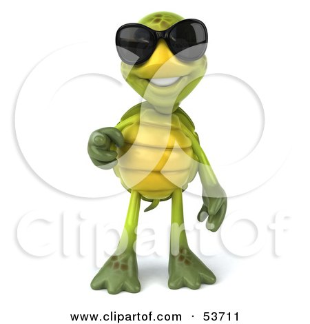 Royalty-Free (RF) Clipart Illustration of a 3d Green Tortoise Wearing Dark Shades And Pointing Outwards by Julos