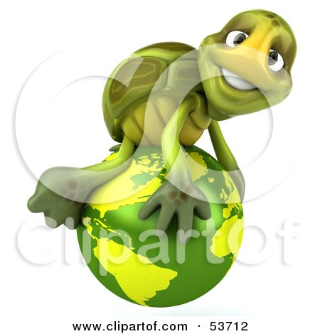 Royalty-Free (RF) Clipart Illustration of a 3d Green Tortoise Atop A Green Globe by Julos