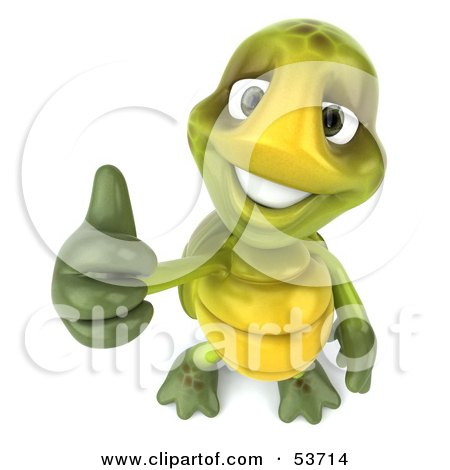 Royalty-Free (RF) Clipart Illustration of a 3d Green Tortoise Looking Upwards And Giving The Thumbs Up by Julos