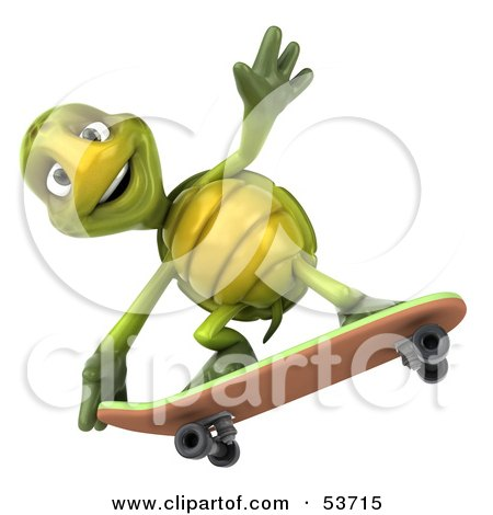 Royalty-Free (RF) Clipart Illustration of a 3d Green Tortoise Skateboarding - Version 4 by Julos