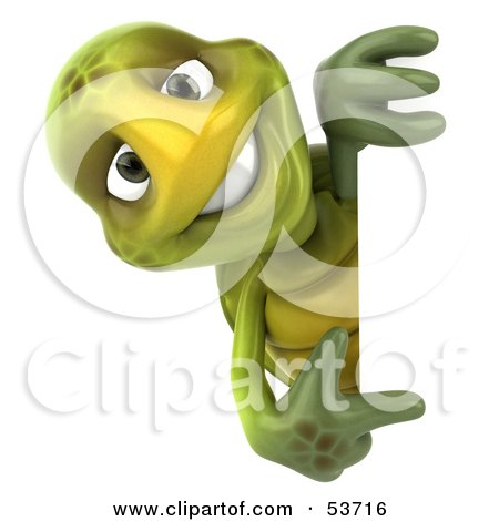 Royalty-Free (RF) Clipart Illustration of a 3d Green Tortoise Smiling And Looking Around A Blank Sign While Pointing by Julos