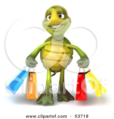 Royalty-Free (RF) Clipart Illustration of a 3d Green Tortoise Walking With Colorful Shopping Bags by Julos