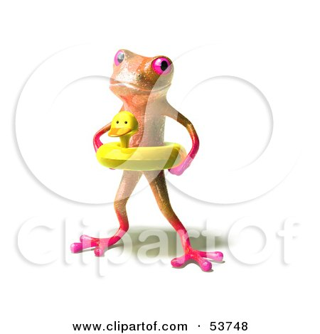 Royalty-Free (RF) Clipart Illustration of a Cute 3d Pink Tree Frog Wearing A Ducky Inner Tube - Pose 1 by Julos