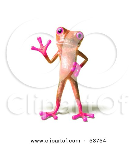 Royalty-Free (RF) Clipart Illustration of a Cute 3d Pink Tree Frog Waving - Pose 1 by Julos