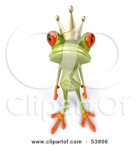 Royalty-Free (RF) Clipart Illustration of a Cute 3d Green Tree Frog Prince Looking Lonely by Julos