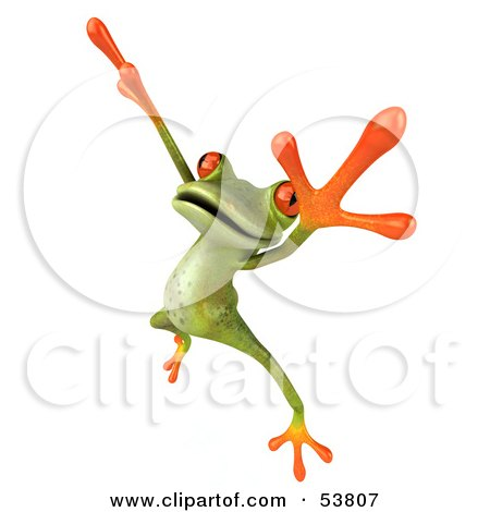 Royalty-Free (RF) Clipart Illustration of a Cute 3d Green Tree Frog Dancing - Pose 2 by Julos