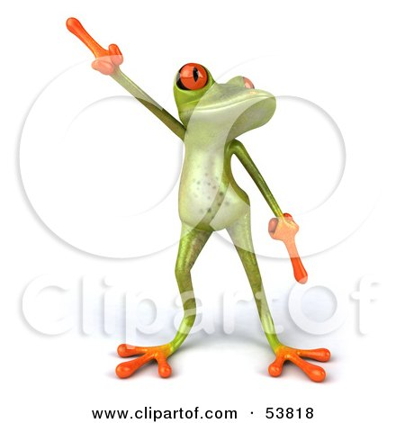 Royalty-Free (RF) Clipart Illustration of a Cute 3d Green Tree Frog Dancing - Pose 1 by Julos