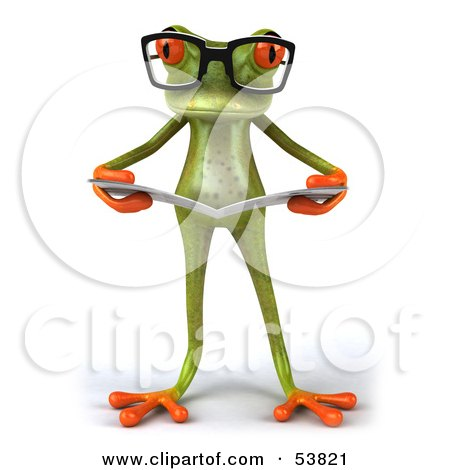 Royalty-Free (RF) Clipart Illustration of a Cute 3d Green Tree Frog Wearing Glasses And Reading - Pose 4 by Julos
