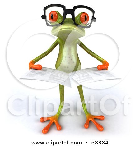 Royalty-Free (RF) Clipart Illustration of a Cute 3d Green Tree Frog Wearing Glasses And Reading - Pose 5 by Julos