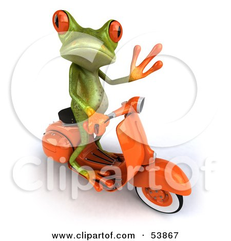 Royalty-Free (RF) Clipart Illustration of a Cute 3d Green Tree Frog Riding An Orange Scooter And Waving by Julos