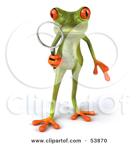 Royalty-Free (RF) Clipart Illustration of a Cute 3d Green Tree Frog Using A Magnifying Glass - Pose 1 by Julos