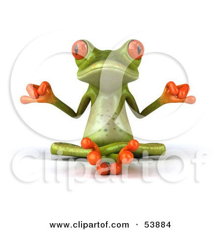 Royalty-Free (RF) Clipart Illustration of a Cute 3d Green Tree Frog Meditating - Pose 1 by Julos